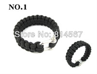 Wholesale Free Shopping new Multi color Paracord Outdoor Bracelets Stainless Steel Buckle Survival Kit Strap Bracelet Cord Camping