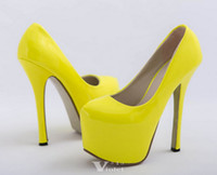 Wholesale Brand New Women Hot Neon color sexy CM ultra High heel Pumps Pink yellow platform party shoes Size