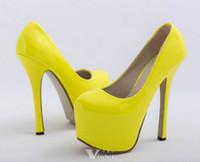 Women beige platform high heels - Brand New Women Hot Neon color sexy CM ultra High heel Pumps Pink yellow platform party shoes Size