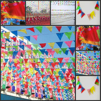 Wholesale 40m New Multi Color Triangle Banner Beautiful Christmas Ornaments For Wedding Party Decoration Supplies