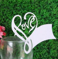 Wholesale Laser Cut Love Heart Place Name Card Cup Paper Card Table Mark Wine Glass Wedding Favors Party Decor