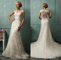 A-Line Real Photos V-Neck 2014 Vintage Wedding Dresses Bit V Neck Short Capped Sleeve Sexy Sheer Back A Line Chapel Train Beaded Lace Bridal Gowns Amelia Sposa W
