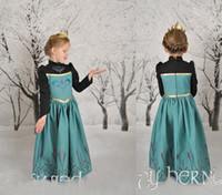 Girl Movie Star Cotton 2014 Frozen Movie kigurumi anna elsa princess anime cosplay carnival christmas halloween Character party costumes bady children girls dress