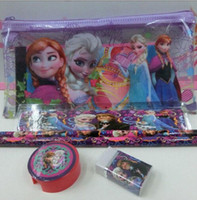 Wholesale Frozen stationery set for Students Office Pencil Cases Frozen Bags Frozen Ruler Pencils Frozen Purses Wallet creative pencil