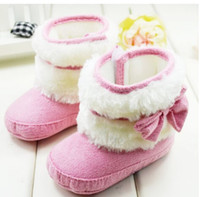Wholesale Winter Newborn Baby Cute Pink Butterfly Pretty Downy Comfortable Princess Infant Toddler Baby Girl First Walk Boots