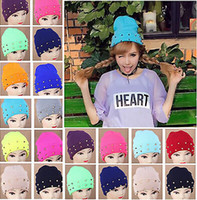 Wholesale Women Men Unisex Beanie Hat Cone Spikes Studded Punk Rivet WarmKnitted Candy Cap CA03016
