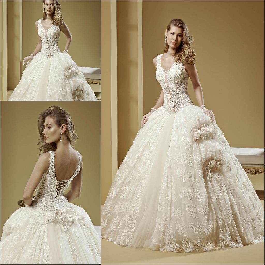 2015 Ball Gown Corset Ball Gown Lace Up Low Back Wedding
