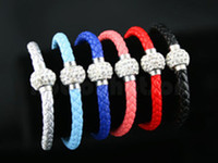 Wholesale 50pcs Pu leather bracelet braided bracelet shamballa Clasp Magnetic Color In Stock