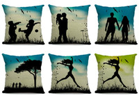 Wholesale Funny Shadow Pattern Pillow Case Lovers Pillow Slips Linen Pillow Cover Fit Home Office EHE17