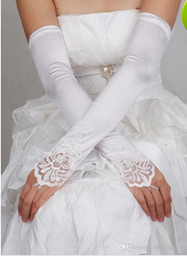 Wholesale 2014 New White Wedding Gloves Flower Lace With Over Elbow Length Wedding Evening Fingerless Bridal Gloves Bride Accessory WX