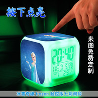 Wholesale LED Colors Change Digital Alarm Clock Frozen Anna and Elsa Thermometer Night Colorful Glowing Clock with retail box Best quality