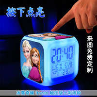 Wholesale LED Colors Change Digital Alarm Clock Frozen Anna and Elsa Thermometer Night Colorful Glowing Clock with retail box factory price