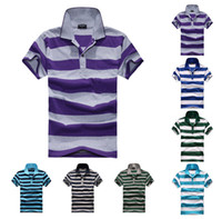 Men Short Sleeve 90% Cotton 2014 Summer Shirts For Mens Casual Men's Sport Polo shirt Free Shipping wholesale Fashion plus size stripe Polo Shirt Men