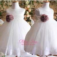 Reference Images Girl Bow 2015 Custom made Toddler Flower Girl's Dresses with Crew Neck Bow Lace Handmade Flower Ball Gown Lovely Little Girls Dress for Wedding