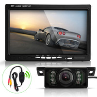 "Car Camera   7"" TFT LCD Car Rearview Reverse Monitor+Wireless Transmitter+7 LED IR Camera Kit"