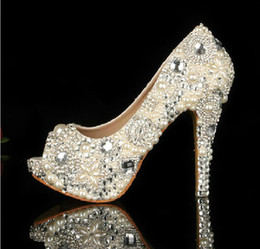 Wholesale 2014 Unique Ivory Pearl Rhinestone Wedding dress Shoes Peep Toe High Heeled Bridal Shoes Waterproof Woman Party Prom Shoes