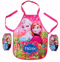 Wholesale sets Children kids boys girls Frozen waterproof Aprons set Sanitary pinafore pinny set painting clothes oversleeps set