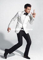 Men Pant Suit Lapel Neck 2014 Custom Suit double button white Groom Tuxedos with Groomsmen Men wedding tuxedos wear slim wedding suits for men(Jacket+Pants+Bow Tie)