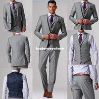 Pant Suit mens dress suit - custom made suits Light Grey Groom Tuxedos Suits custom wedding groom wear dress vest mens suits wedding groom