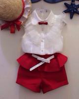 Wholesale Children Girls Sleeveless T shirt Shorts Trousers Summer Autumn Fashion Casual Set Child Set Kids Girls Clothes Suit White Red E0493