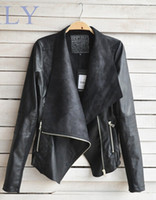Wholesale Spring Autumn Hot Sell New Designers Europe amp America Fashion Women Coat Slim Short PU Leather jacket Women black amp beige AD11