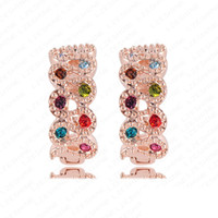 Wholesale 5pcs Small Hook Earrings K Rose Gold Plate Austrian Crystals SWA Elements New Earrings Design