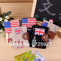 Wholesale MN women Vintage Canvas UK US flag print Credit card Holder case lady card wallet retro ID card purse bag