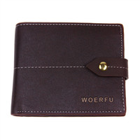 Wholesale Business fashion excellent quality mens leather designer clasp wallet card photo bits fold short purse wallets colors