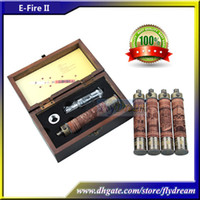 Wholesale HOT X Fire II Wooden E Fire Kits VV Mod Variable Voltage Battery mAh Starter Kit Electronic Cigarette Protank Atomizer Vapor Flydream