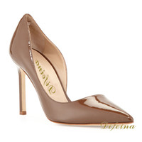 Women Pumps Spring and Fall Fashion Pointed Toe Brown Color Woman Shoes Euramerican Style Leather Half Hollow Out Night Club Shallow Mouth Stiletto Heel 12cm