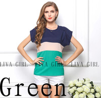 Wholesale Fashion Brand Korean summer Loose shirts Striped chiffon shirts women shirt Short sleeve women s t shirt plus size green
