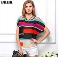 Wholesale Fashion Brand summer Perspective shirts Loose Irregular Striped chiffon shirts women shirt Short sleeve women s t shirt