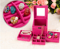 Wholesale Jewelry box Flannelette three layers of jewelry box Jewelry boxes Holiday gifts