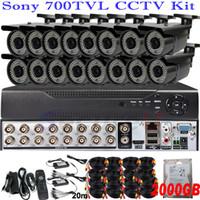Cheap Bullet DVR sada se 4 kamer CCTV Best :Waterproof / Weatherproof H.264 DVR Kit met 16  camera