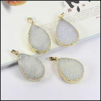 Wholesale 3pcs kt AAA White color Nature Druzy Quartz Crystal Pendants Geode Agate Slice gem stone Drusy Pendant Beads Jewelry findings