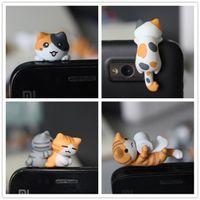 Wholesale Kawaii Phone Plugs - DHL FEDEX FREE SHIPPING kawaii original quality Chi's cat Anti dust plug 16 style for cell phone cute ear jack earphone cap