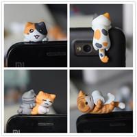 al por mayor tapones lindo del polvo del teléfono celular-DHL FEDEX LIBERAN el estilo anti del enchufe 16 del polvo del gato de la ji de la calidad original del kawaii del ENVÍO para el casquillo lindo del auricular del gato del oído del teléfono celular