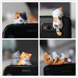 Wholesale DHL FEDEX kawaii original quality Chi s cat Anti dust plug style for cell phone cute ear jack earphone cap