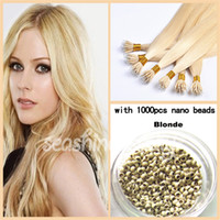 Brazilian Hair #1b/2/4/6/12/33/60 Straight 100% Brazilian remy hair extension Nano Ring Hair #613 Blonde Color 300g with 1000pcs 2.5mm Nano Beads Hair Extension Best Sale Product