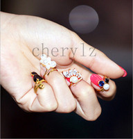 Fashion best fingering tips - Pop Pearl Rhinestone Finger Nail Ring Tip Knuckle Ring Jewelry Rings For Women Best Gifts C1333