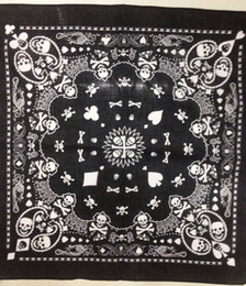Free Shipping 2014 New 55CM*55CM 100% Cotton Black and White Skull And Paisley Bandana For Mens Boys Womens Girls