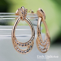 al por mayor elemento óvalo-Diseño de forma elíptica! Rose Gold Colour Rhinestones austríaco Elemento Oval Classic Elegante Señora Long Earrings