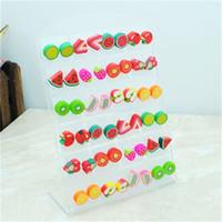 Wholesale pairs Environmental Plastic Pin Cute Resin Fruit Bead Earring Stud E421