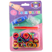 Big Kids Multicolor Rubber New DIY Knitting Braided loom Watch Rainbow Kit Rubber Loom Bands Self-made Silicone Bracelet Free Shipping(Watch+Rubber+Clip+Hook)(1501017)