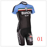 Wholesale Bianchi cycling jerseys racing team cycling jersey and shorts short sleeve jerseys pants bike bicycle riding wear set
