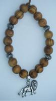 Charm Bracelets Women's Fashion Free Shipping Fashion Jewelry Vintage Silvers Lion Charm & Wooden Beads Bracelet Bangles DIY Findings 10PCS N511