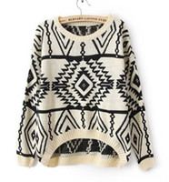 Women Regular V-Neck SW-013 long sleeve oversized sweaters for women 2014 Aztec pattern pullovers and kintwear coats for woman top sale