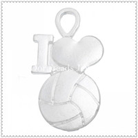 Wholesale Charm Pendants Volleyball amp Heart Silver Plated x1 cm B31977
