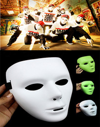 Hot sell Popular Shuffle Dance Hip hop Mask JabbaWockeeZ Blank men women Face Mask Halloween Party Mask luminous and white
