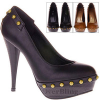 Women Pumps Wedge New Arrived Newest Womens Faux Leather Rivets Platform Pump Stiletto Super High Casual Low Platform High Rivet 2013